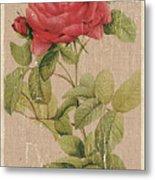 Vintage Burlap Floral Metal Print