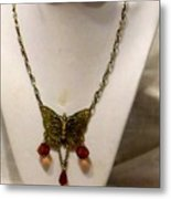 Vintage Butterfly Dreams Necklace Metal Print