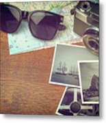 Vintage Camera And Map Metal Print