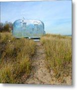 Vintage Camping Trailer Near The Sea Metal Print
