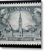 Vintage Canadian Postage Stamp With Victoria And George Metal Print