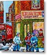 Vintage Candy Store Classic Coca Cola Truck Winter Scene Hockey Art Canadian Art Carole Spandau      Metal Print