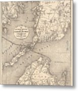 Vintage Cape Cod Old Colony Line Map  Metal Print