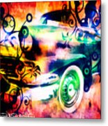 Vintage Car 1 Neons Edition Metal Print