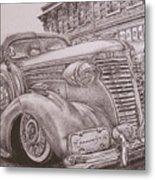 Vintage Car On The Street Metal Print