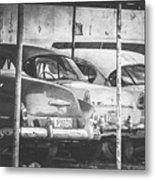 Vintage Cars At Night Bw Metal Print