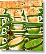 Vintage Cellar Tea Cups Painterly Metal Print