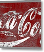 Coca Cola Red And White Sign Gray Border With Transparent Background Metal Print