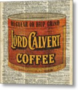 Vintage Coffee On Dictionary Page Metal Print
