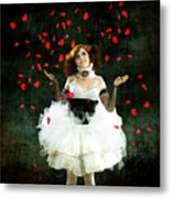 Vintage Dancer Series Raining Rose Petals  Metal Print by Cindy Singleton
