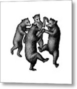 Vintage Dancing Bears Metal Print