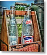 Vintage Double Dot Wooded Pepsi Carrier Metal Print