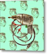 Vintage Drill Motor Green Trigger Pattern Metal Print