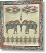 Vintage Elephants Kashmir Paisley Shawl Pattern Artwork Metal Print