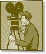 Vintage Film Camera Director Metal Print by Aloysius Patrimonio