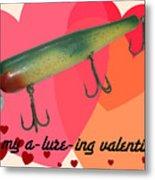 Vintage Fishing Lure Valentine Card Metal Print