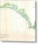 Vintage Florida Panhandle Coastal Map - 1852 Metal Print