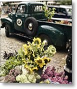 Vintage Flower Truck-nantucket Metal Print