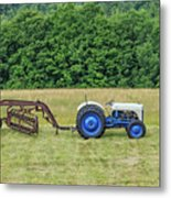 Vintage Ford Blue And White Tractor On A Farm Metal Print