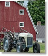 Vintage Ford Farm Tractor With Red Barn Metal Print