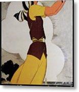 Vintage French Art Deco Woman Golfer, Flapper Woman Golfing Metal Print
