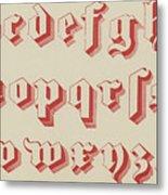 Vintage Gothic Font Red Metal Print