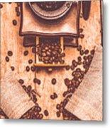 Vintage Grinder With Sacks Of Coffee Beans Metal Print