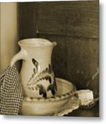 Vintage Grooming Set And Stoneware Water Pitcher In Sepia Tones Metal Print