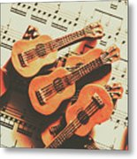 Vintage Guitars On Music Sheet Metal Print