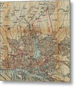 Vintage Hamburg Railway Map - 1910 Metal Print