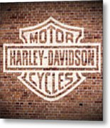 Vintage Harley Davidson Logo Painted On Old Brick Wall Metal Print
