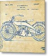 Vintage Harley-davidson Motorcycle 1924 Patent Artwork Metal Print