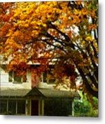 Vintage Home In Autumn Metal Print