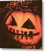 Vintage Horror Pumpkin Head Metal Print