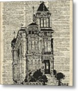 Vintage House Over Dictionary Page Metal Print