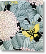 Vintage Japanese Illustration Of A Hydrangea Blossoms And Butterflies Metal Print