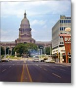 Vintage July 1968 View Looking Up Congress Avenue To The Texas State Capitol Metal Print