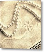 Vintage Lace And Pearls Metal Print