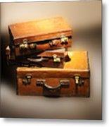 Vintage Leather Suitcases Metal Print