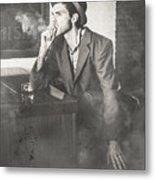 Vintage Man In Hat Smoking Cigarette In Jazz Club Metal Print