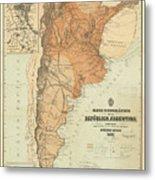 Vintage Map Of Argentina - 1882 Metal Print