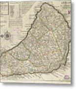 Vintage Map Of Barbados - 1736 Metal Print