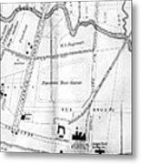 Vintage Map Of Coney Island  Metal Print
