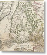 Vintage Map Of Finland - 1740s Metal Print