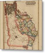 Antique Map Of Georgia Metal Print