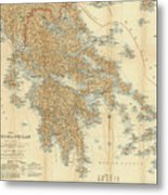 Vintage Map Of Greece - 1894 Metal Print