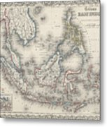Vintage Map Of Indonesia And The Philippines Metal Print