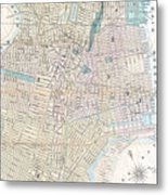 Vintage Map Of Jersey City And Hoboken  Metal Print
