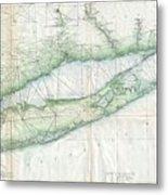 Vintage Map Of Long Island Ny Metal Print