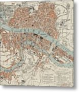 Vintage Map Of Lyon France - 1888 Metal Print